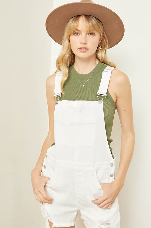 Distressed Overall Romper