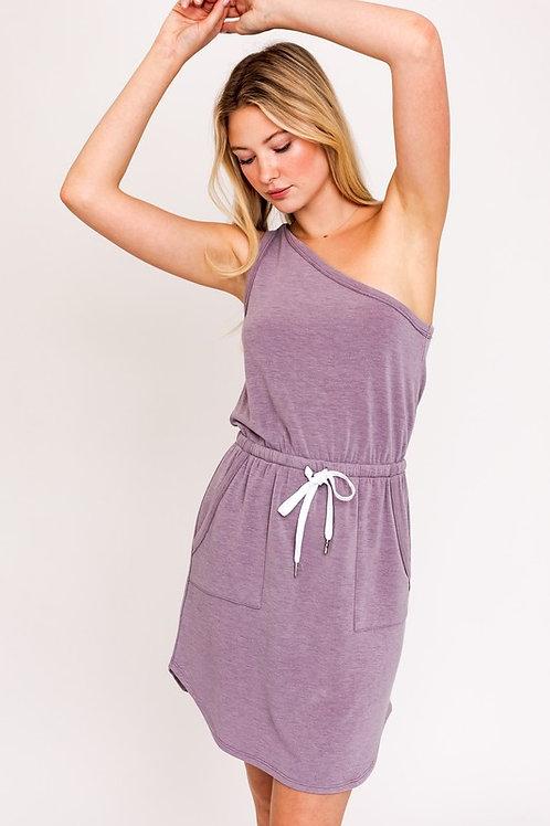 One Shoulder Drawstring Dress