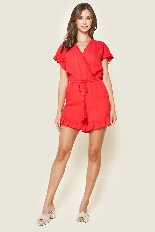 Short Sleeve Surplice Tassel Detail Drawstring Romper