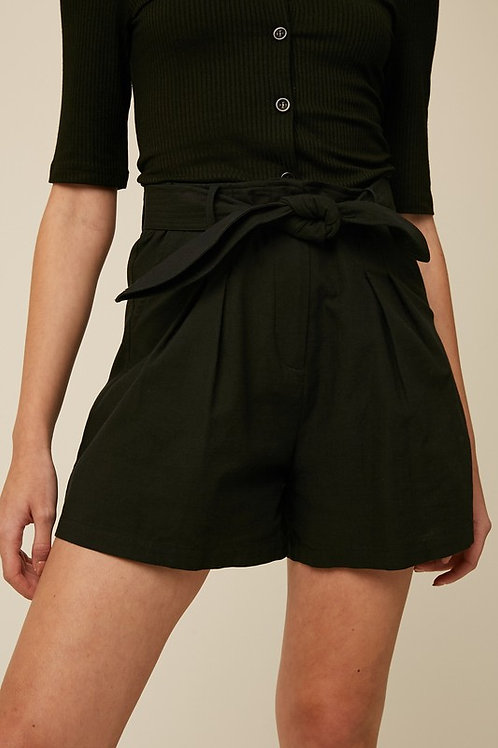Belted Pleated Shorts