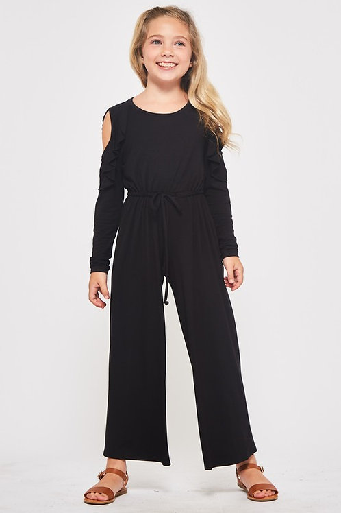 Open Shoulder Ruffle Detail Drawstring Jumpsuit - Available in Olive (Preorder)