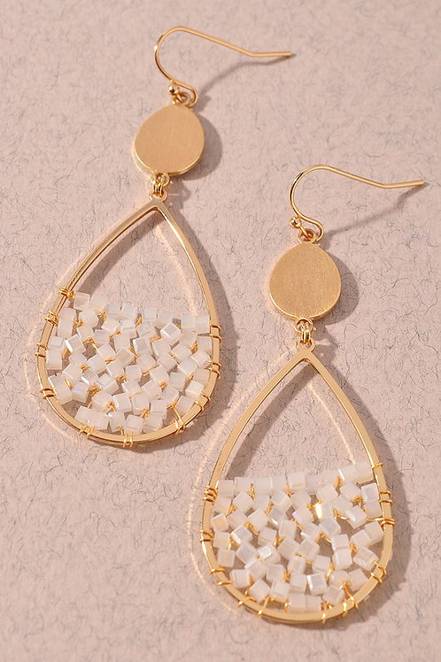 Bead Detail Teardrop Earrings