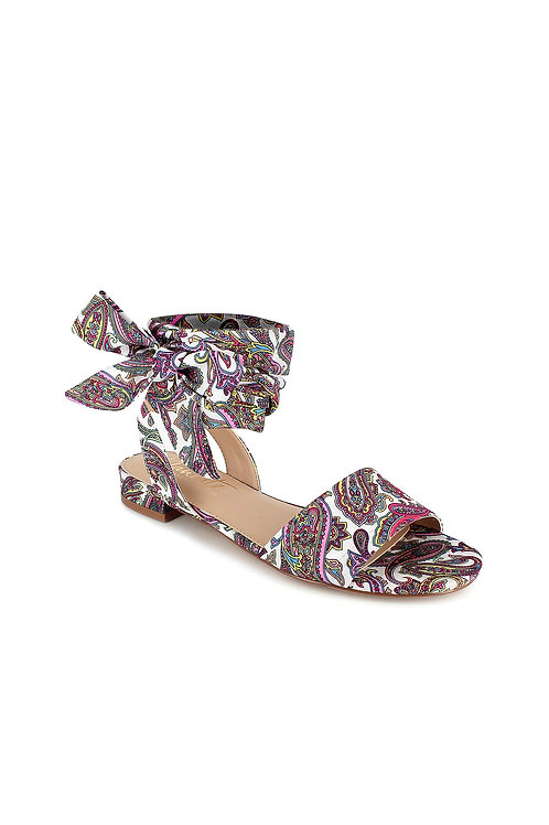 Paisley Print Fabric Tie Ankle Sandals (Preorder)