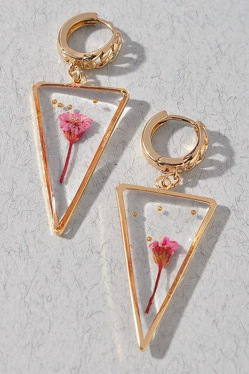 Real Flower Triangle Drop Earrings (Preorder)