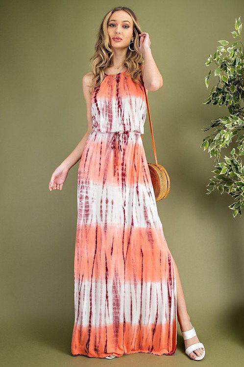 Halter Neckline Tie Dye Tie Back Drawstring Dress
