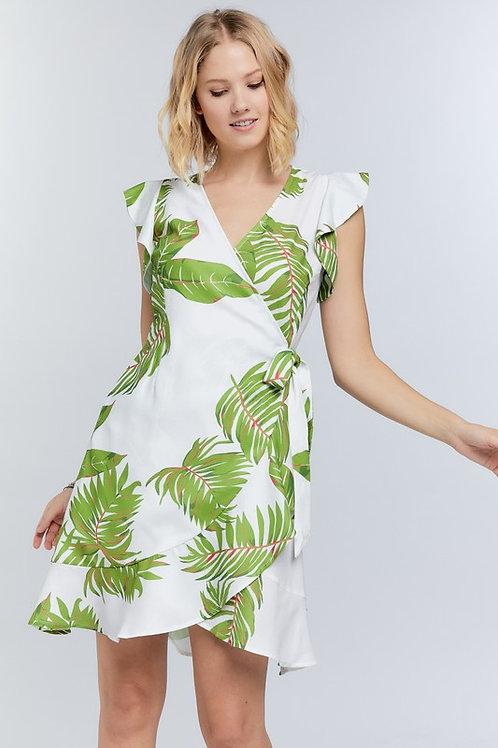 Leaf Print Ruffle Sleeve Wrap Dress