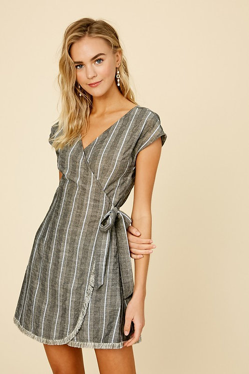 Short Sleeve Striped Wrap Dress