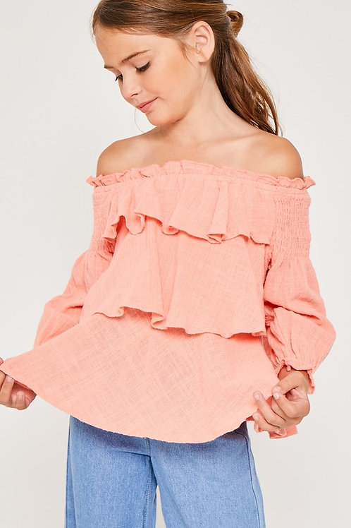 Off The Shoulder Tiered Cotton Top