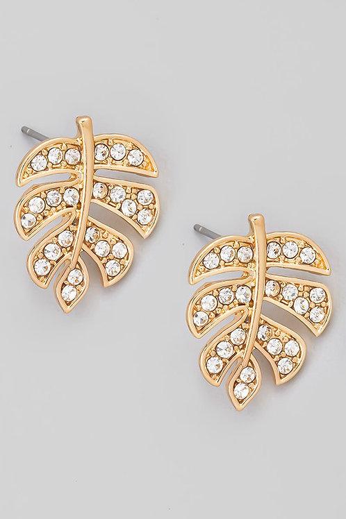 Pave Monstera Leaf Stud Earrings (Gold)