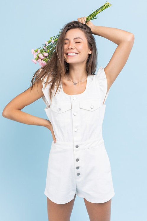 Flutter Sleeve Utility Button Down Romper