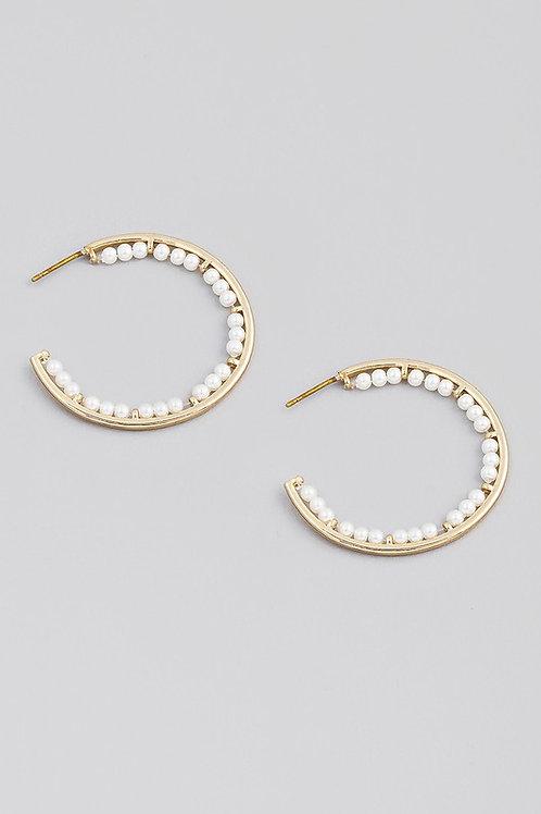 Bead Detail Hoop Earrings
