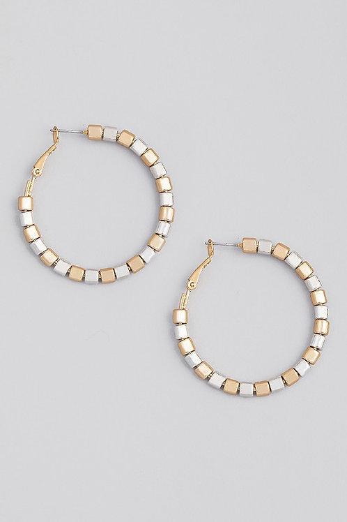 Gold/Silver Beaded Hoop Earrings