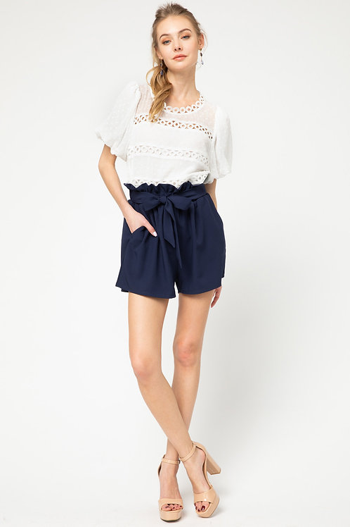 Solid Paperbag Shorts with Side Pockets