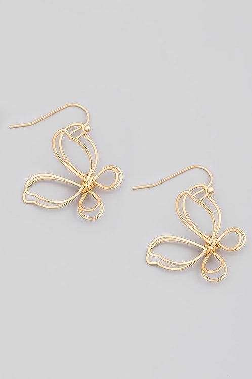 Wire Butterfly Drop Earrings