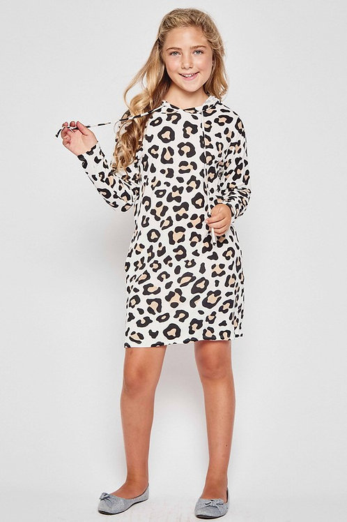 Leopard Print Lounge Hoodie Dress (Preorder)