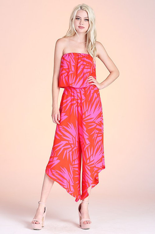 Strapless Layered Curved Hem Leaf Print Jumpsuit
