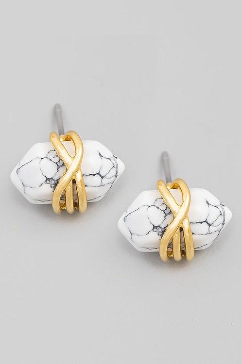 Howlite Stone Wrap Stud Earrings