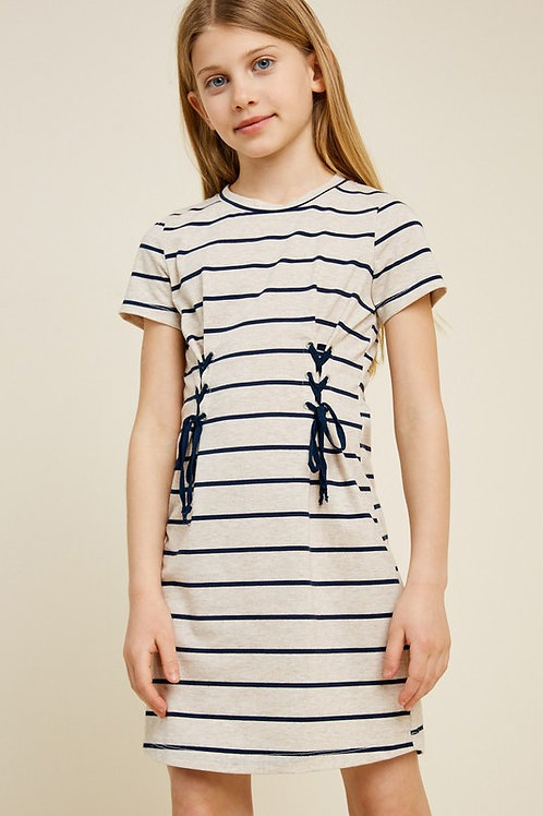 Striped Laced Front Short Sleeve Dress