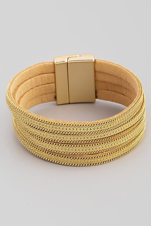 Faux Leather Gold Chain Strand Magnetic Bracelet