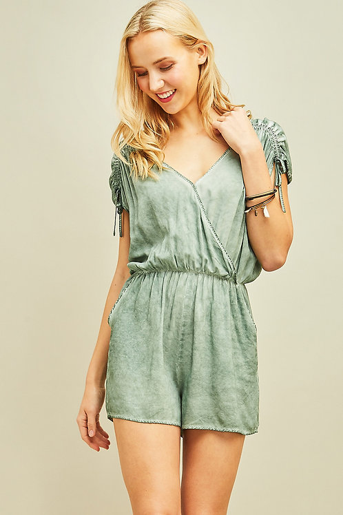 Surplice Drawstring Shoulder Detail Romper