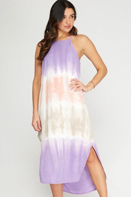 Halter Neckline Tie Dye Midi Dress With Side Slits - Lavender Mix