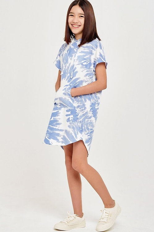 Short Sleeve Tie Dye Hoodie Dress with Kangaroo Pockets