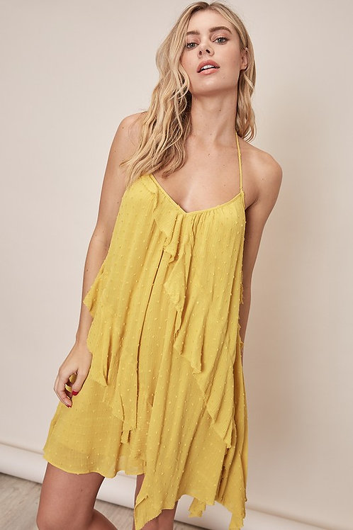 Backless Ruffle Flowy Tassel Detail Dress