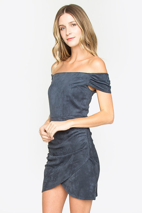 Suede Off Shoulder Ruched Tulip Hem Mini Dress