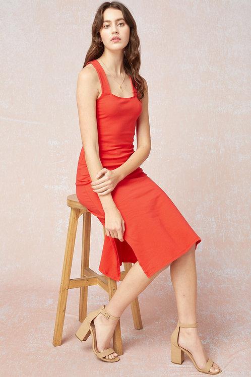 Square Neckline Midi Dress With Side Slits