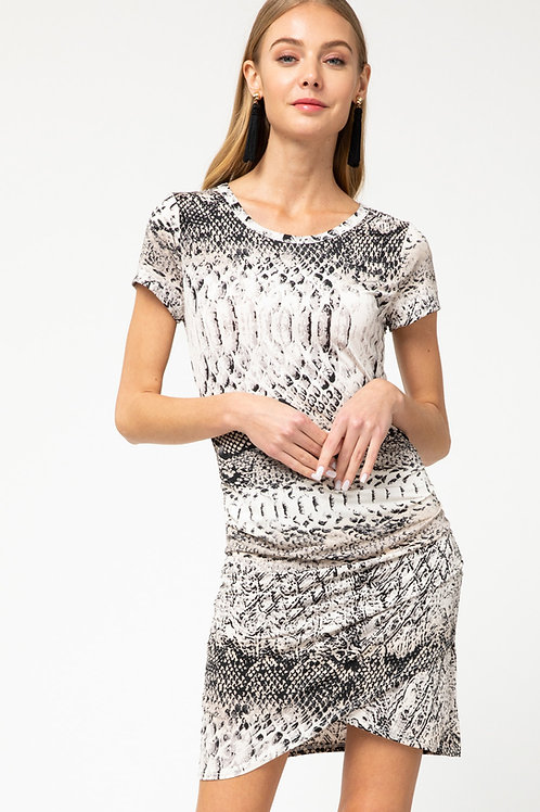 Snakeskin Short Sleeve Draped Detail Dress