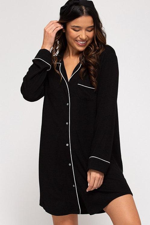 Long Sleeve Button Down Sleepwear Shirt Dress (Preorder)