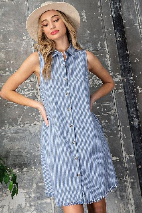 Sleeveless Striped Button Down Shirt Dress