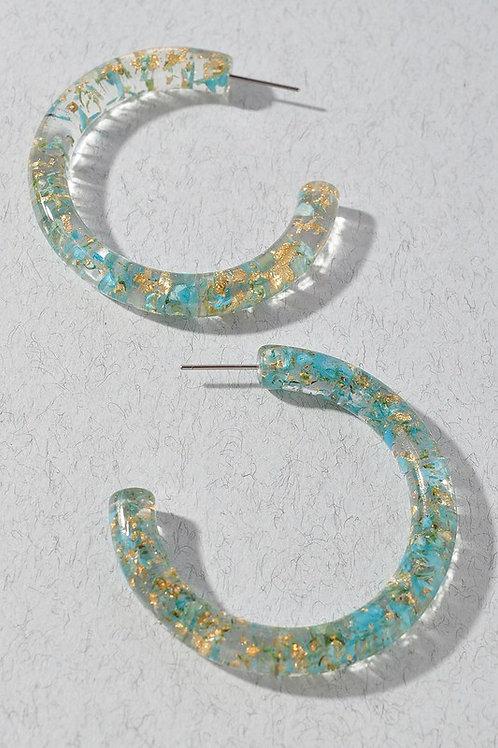 Blue Gold Lucite Hoop Earrings