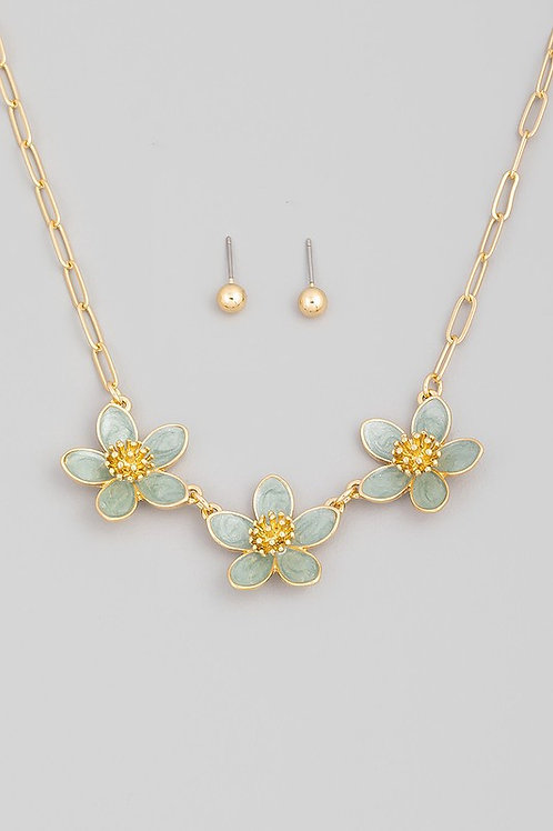 Floral Chain Link Necklace and Earring Set