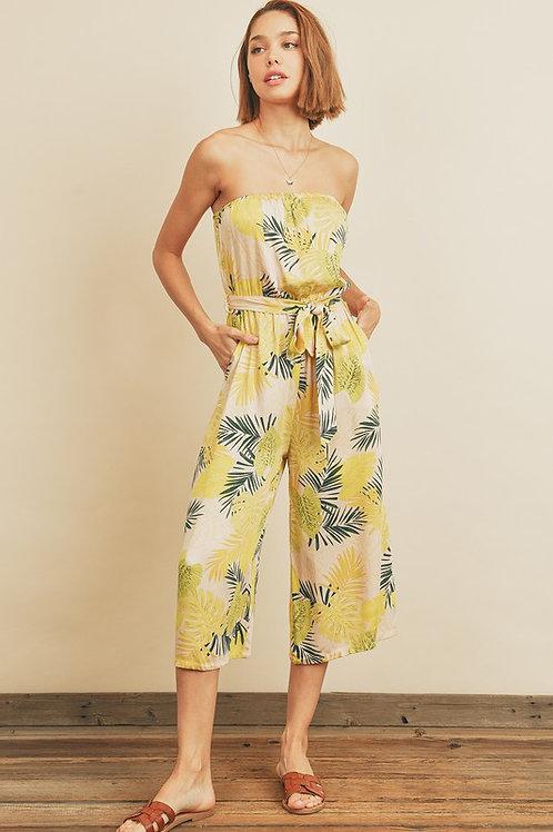Strapless Leaf Print Belted Jumpsuit