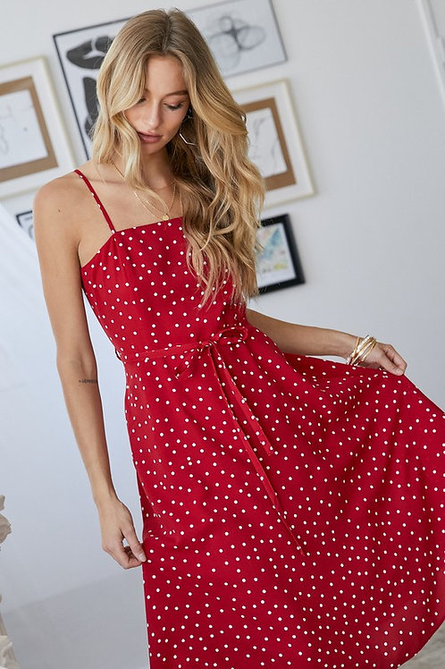 Spaghetti Strap Polka Dot Belted Dress