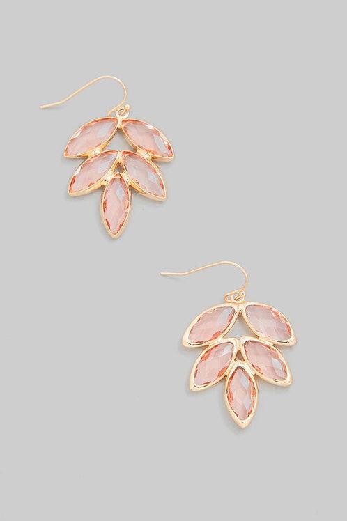 Pink Jewel Leaf Drop Earrings