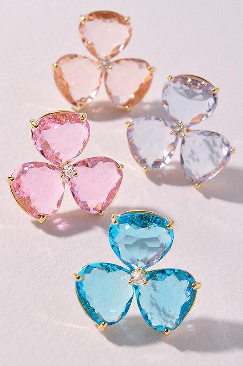 Crystal Flower Stud Earrings - Peach