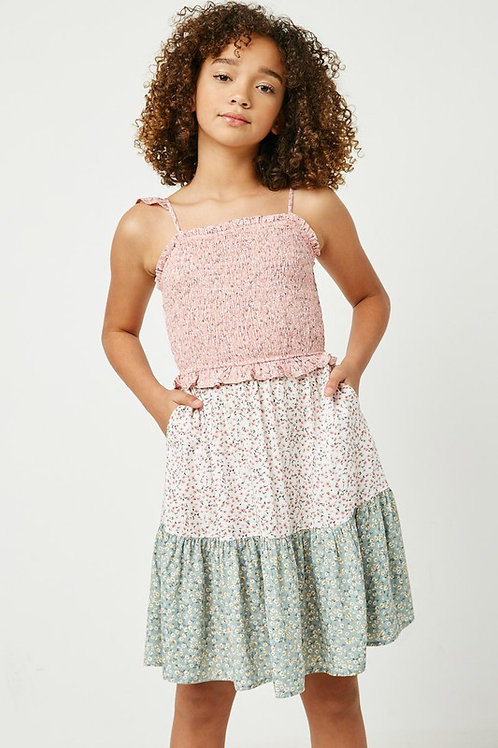 Floral Smocked Ruffle Strap Tiered Dress