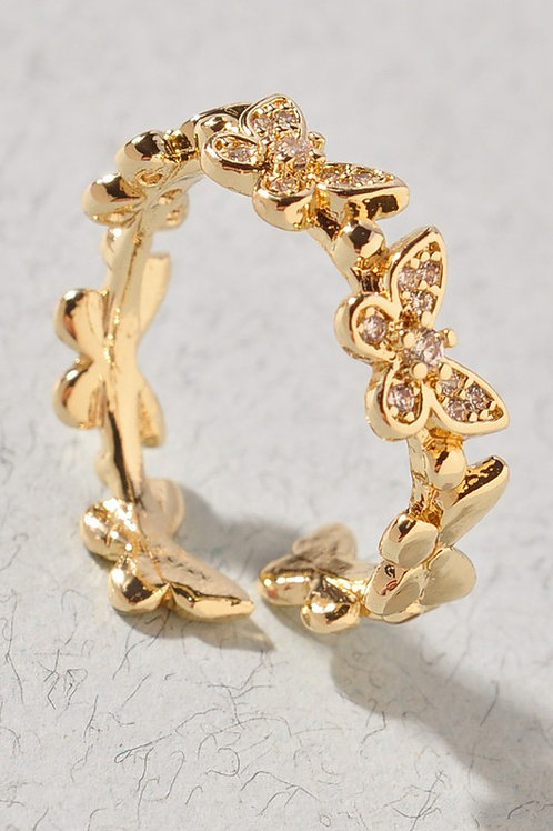 Gold/Crystal Adjustable Butterfly Ring