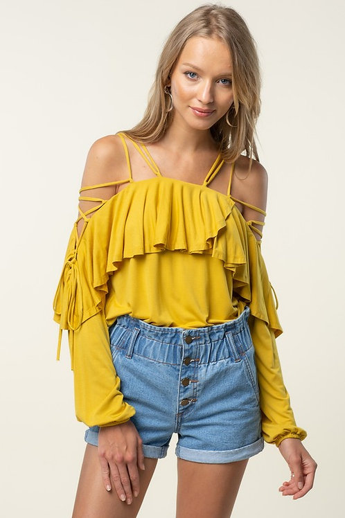 Laced Up Off The Shoulder Ruffle Detail Top