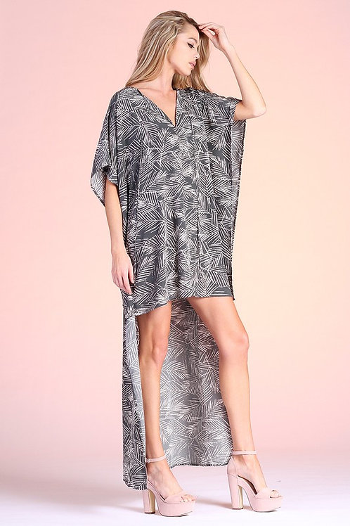 Short Sleeve Leaf Print High Low Resort Dress