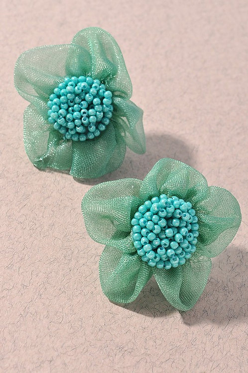 Turquoise Fabric Flower Bead Centre Stud Earrings