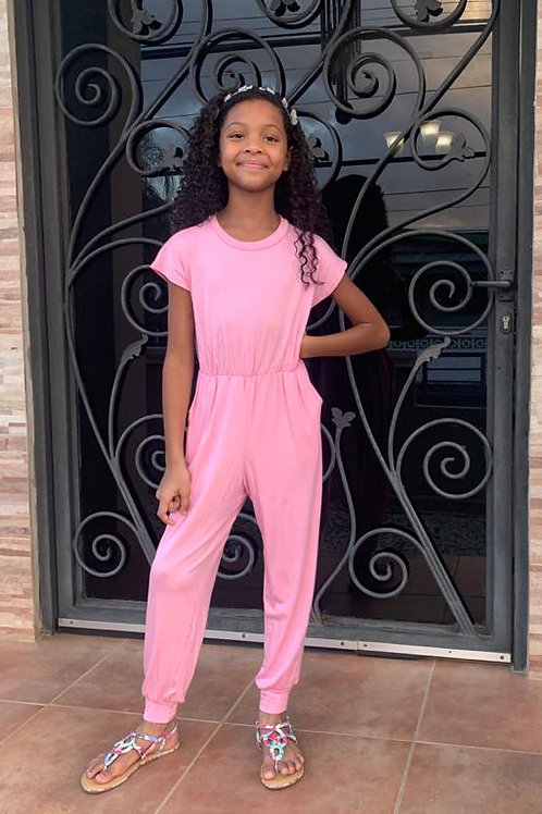 Short Sleeve Boat Neck Cuffed Leg Jumpsuit - Available in Pink