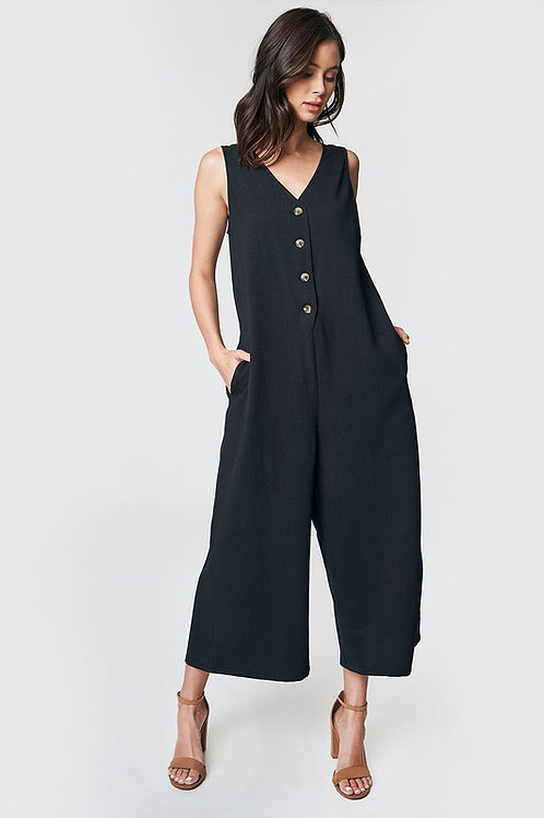 Sleeveless Button Down Loose Fit Jumpsuit