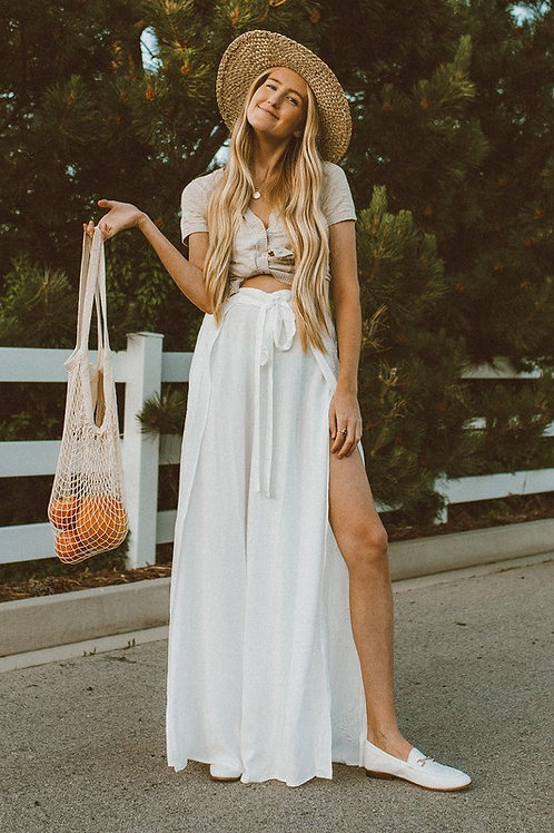Embroidery Detail Wide Leg Pants With Side Slits