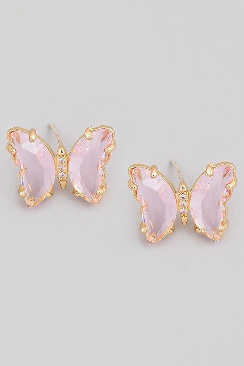 Crystal Butterfly Stud Earrings - Pink