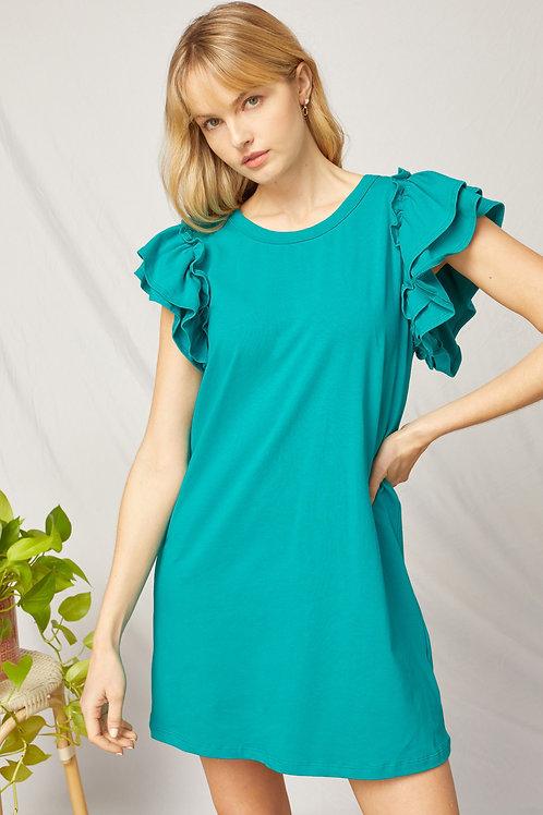 Ruffle Sleeve Short Sleeve Round Neck Cotton Shift Dress