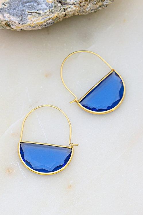 Crystal Stone Hoop Drop Earrings  - Sapphire