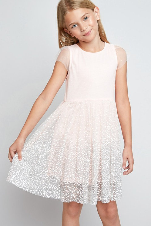 Cap Sleeve Tulle Sparkle Fit and Flare Dress